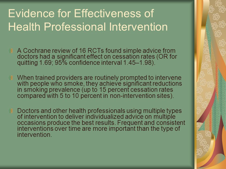 Evidence for Effectiveness of Health Professional Intervention