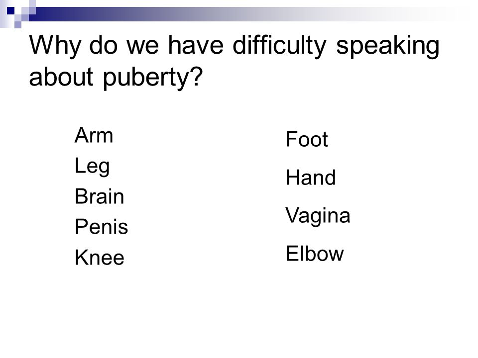 Why do we have difficulty speaking about puberty