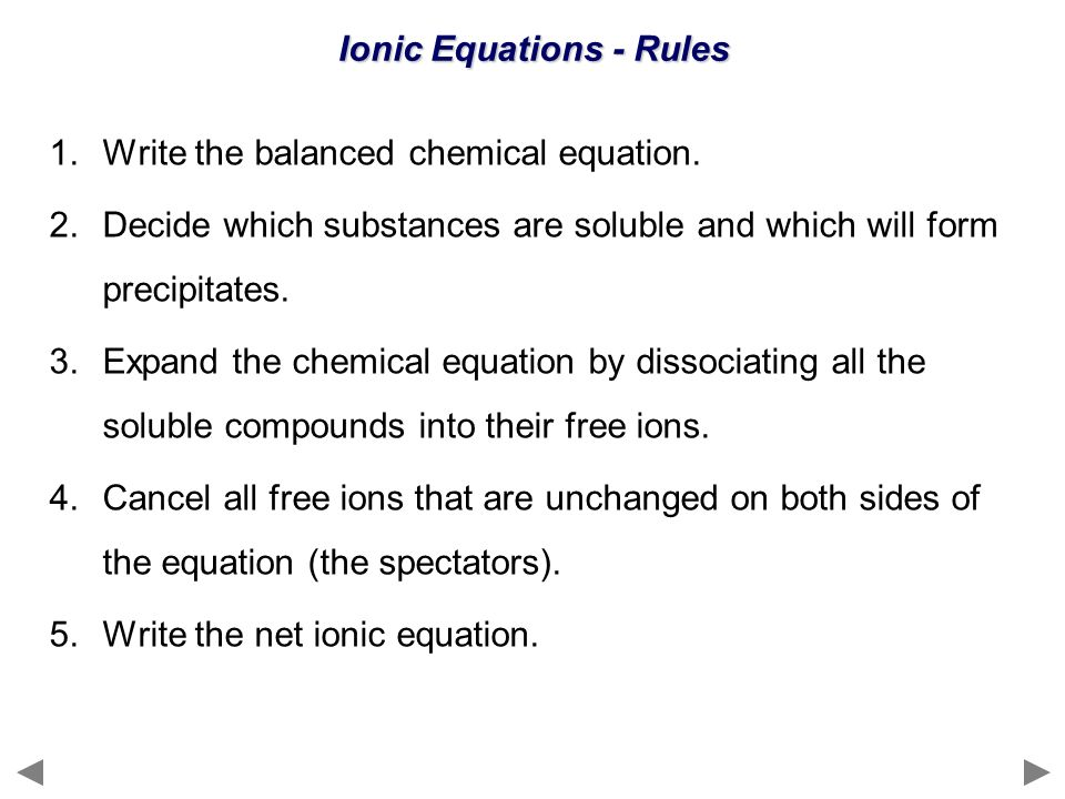 Ionic Equations - Rules