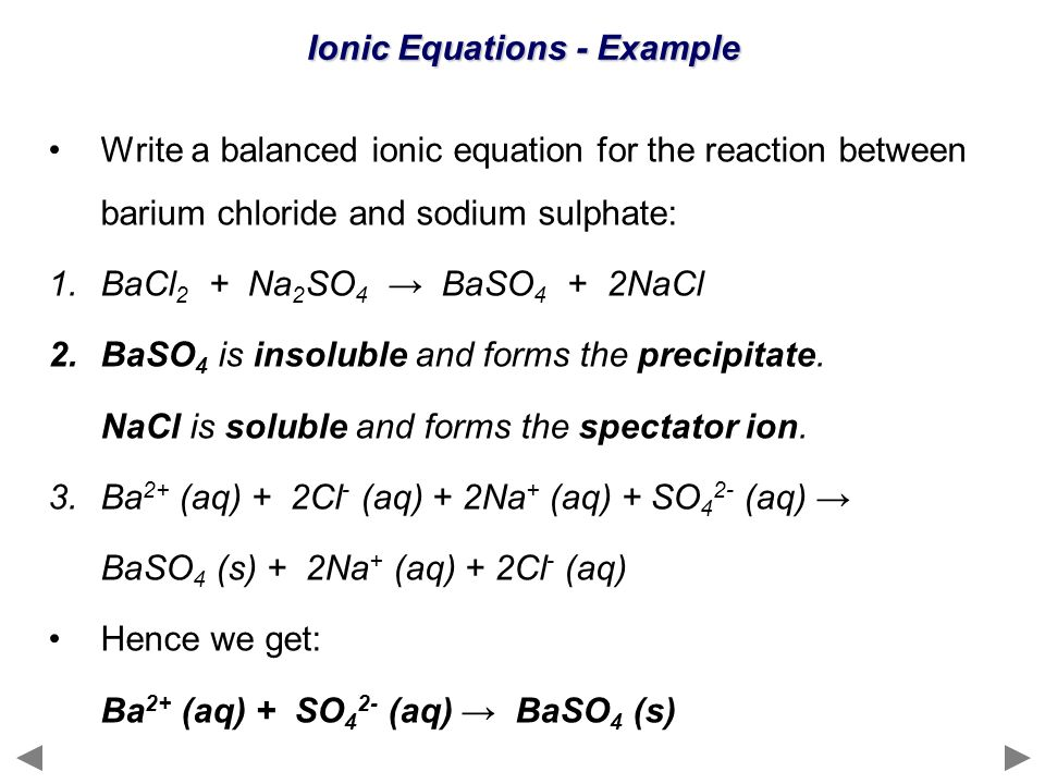 Ionic Equations - Example