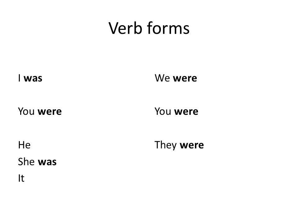 Verb forms I was You were He She was It We were You were They were