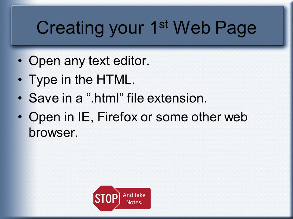 Creating your 1st Web Page