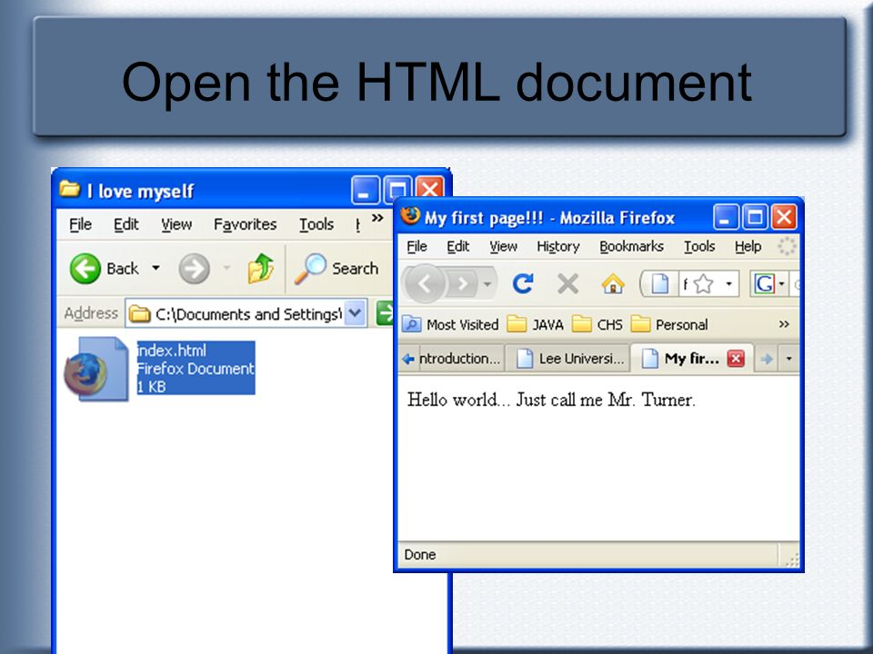 Open the HTML document