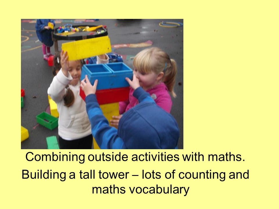 Combining outside activities with maths.