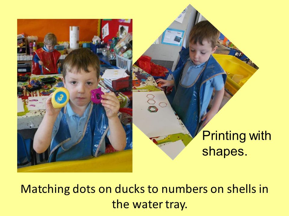 Matching dots on ducks to numbers on shells in the water tray.