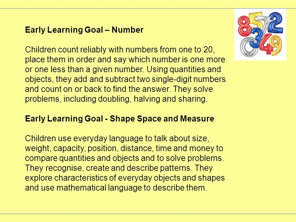 Early Learning Goal – Number