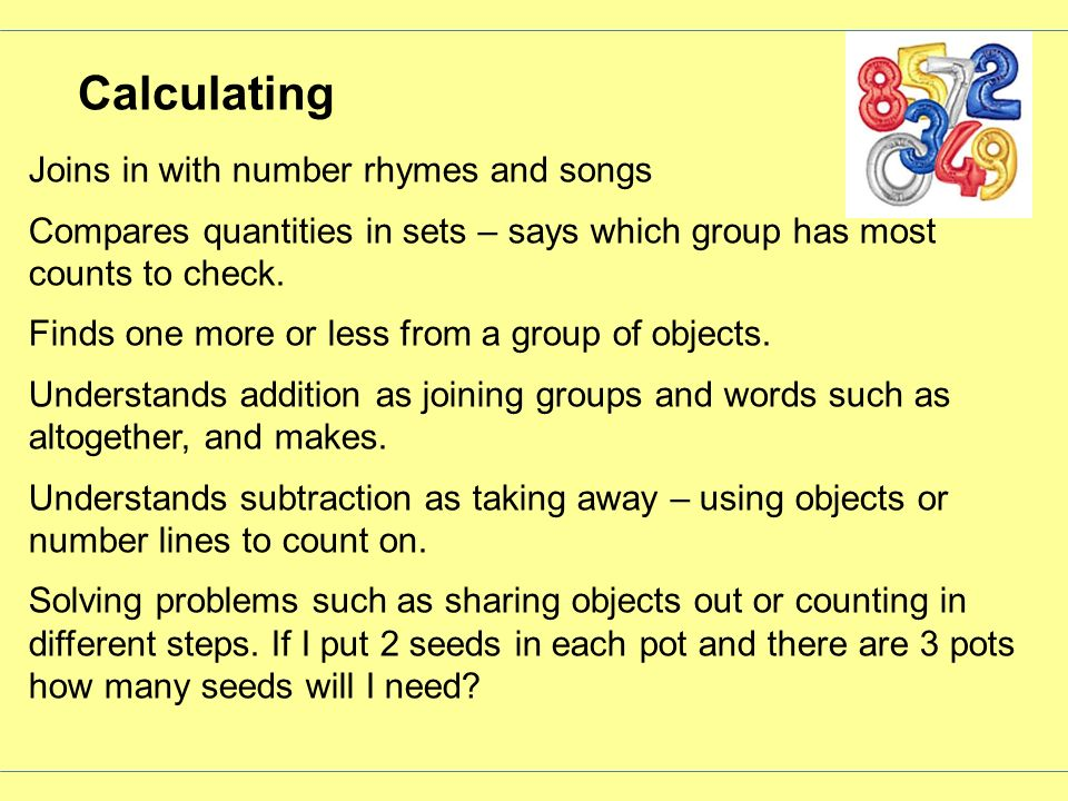 Calculating Joins in with number rhymes and songs