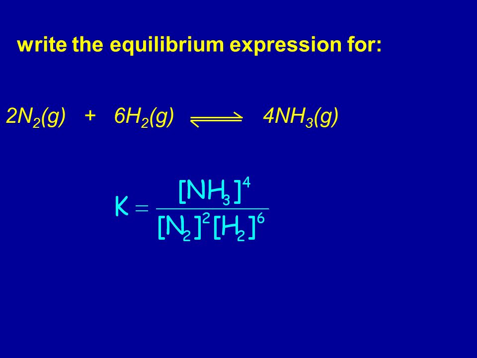 write the equilibrium expression for: