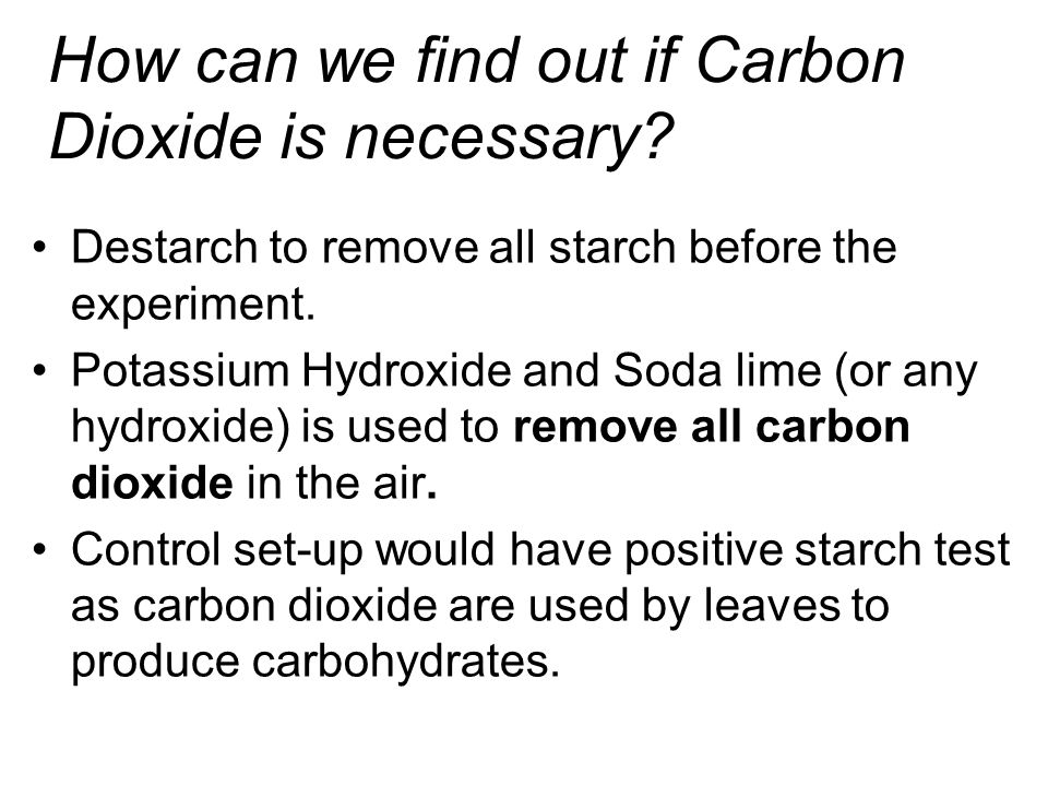 How can we find out if Carbon Dioxide is necessary