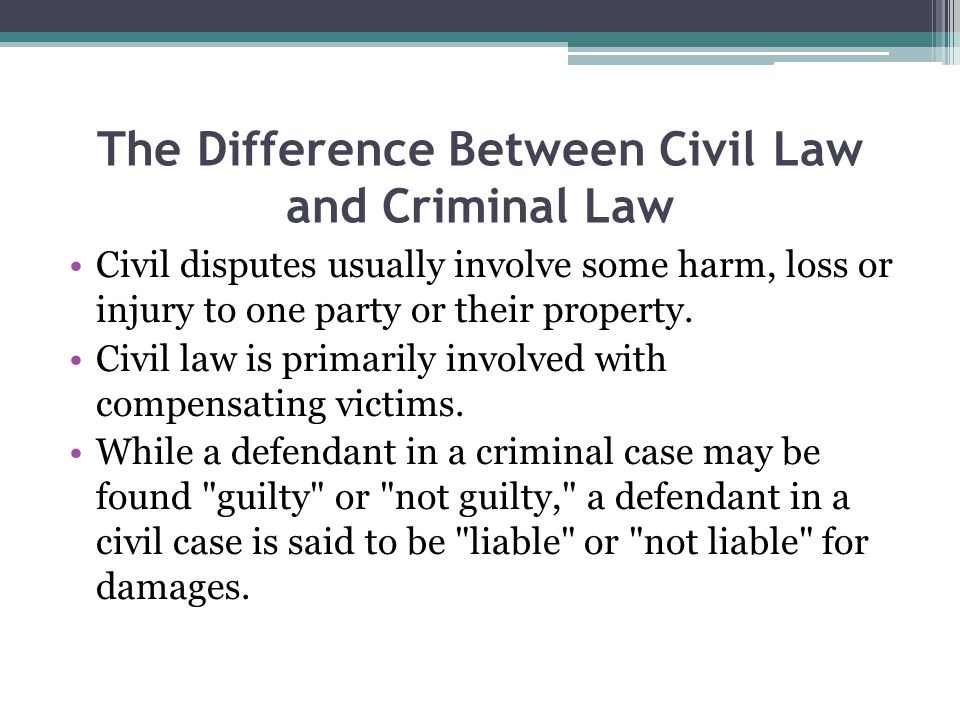 The Difference Between Civil Law and Criminal Law