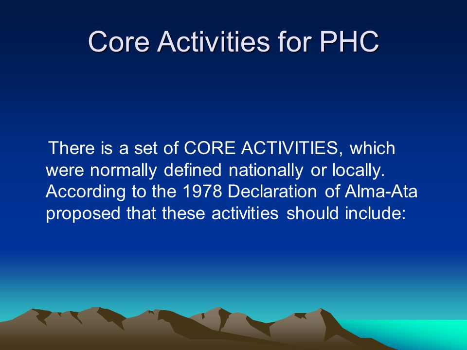 Core Activities for PHC