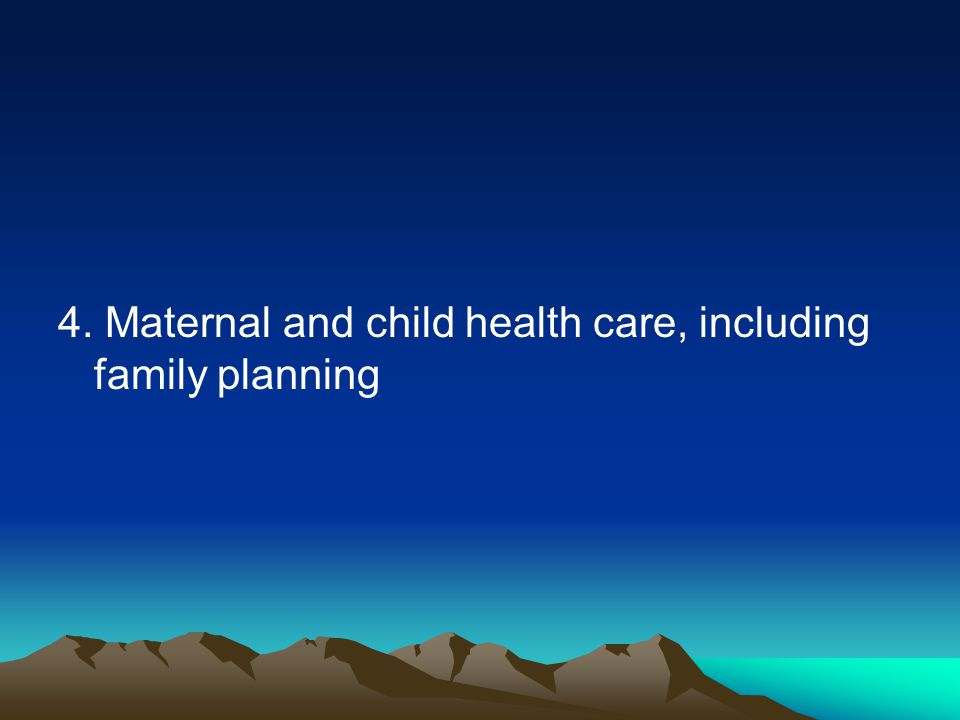 4. Maternal and child health care, including family planning
