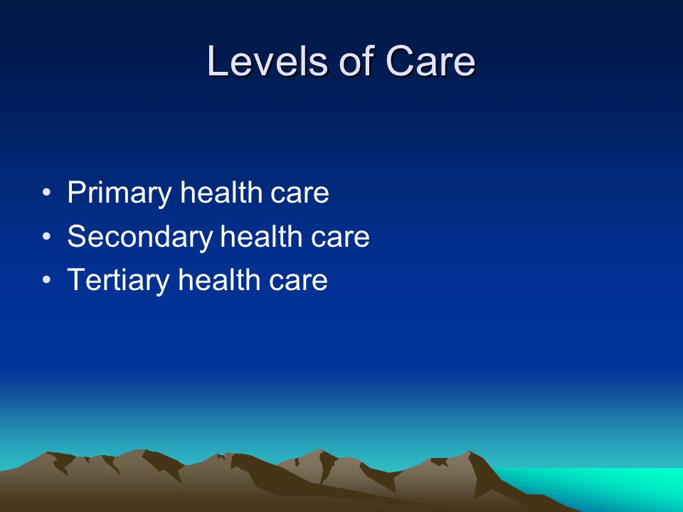 Levels of Care Primary health care Secondary health care