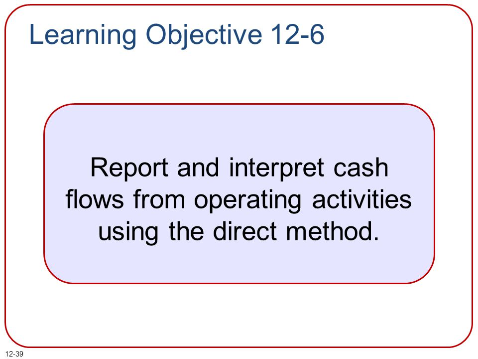 Learning Objective 12-6 Report and interpret cash flows from operating activities using the direct method.