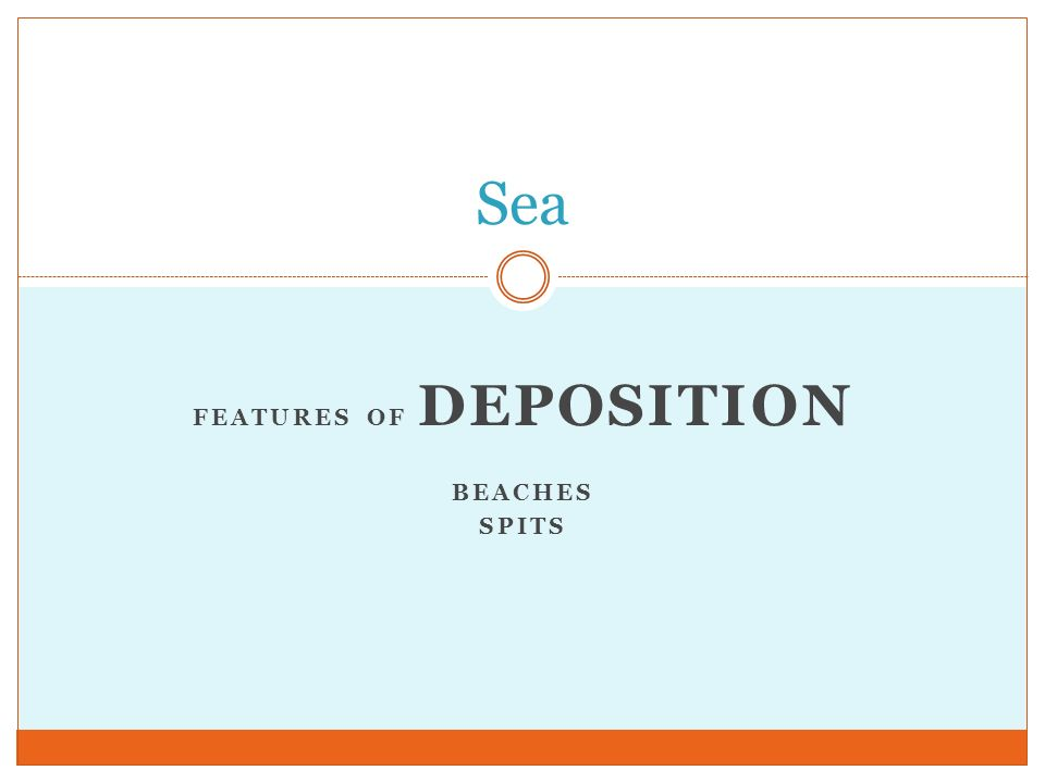 Features of deposition Beaches spits