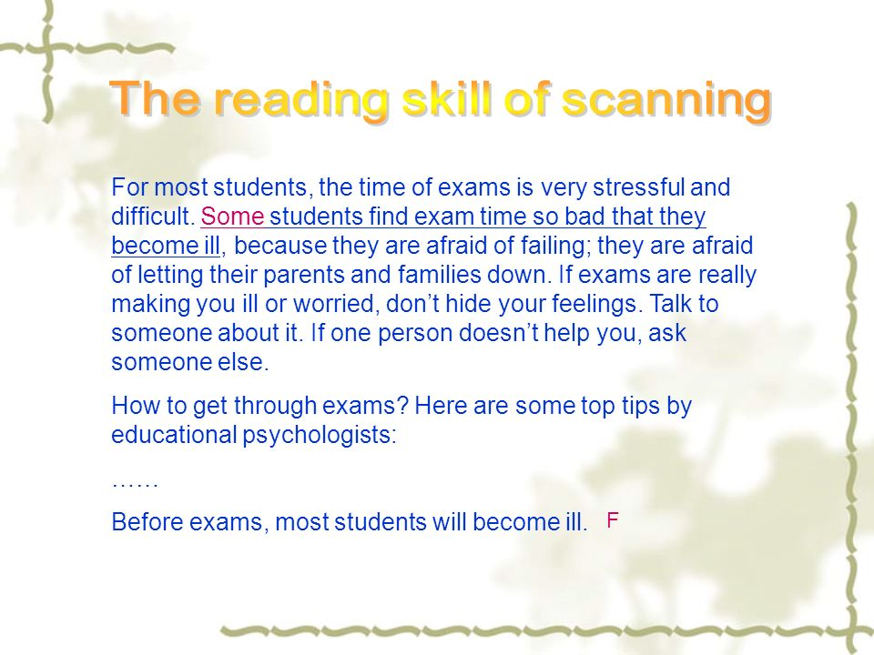 The reading skill of scanning