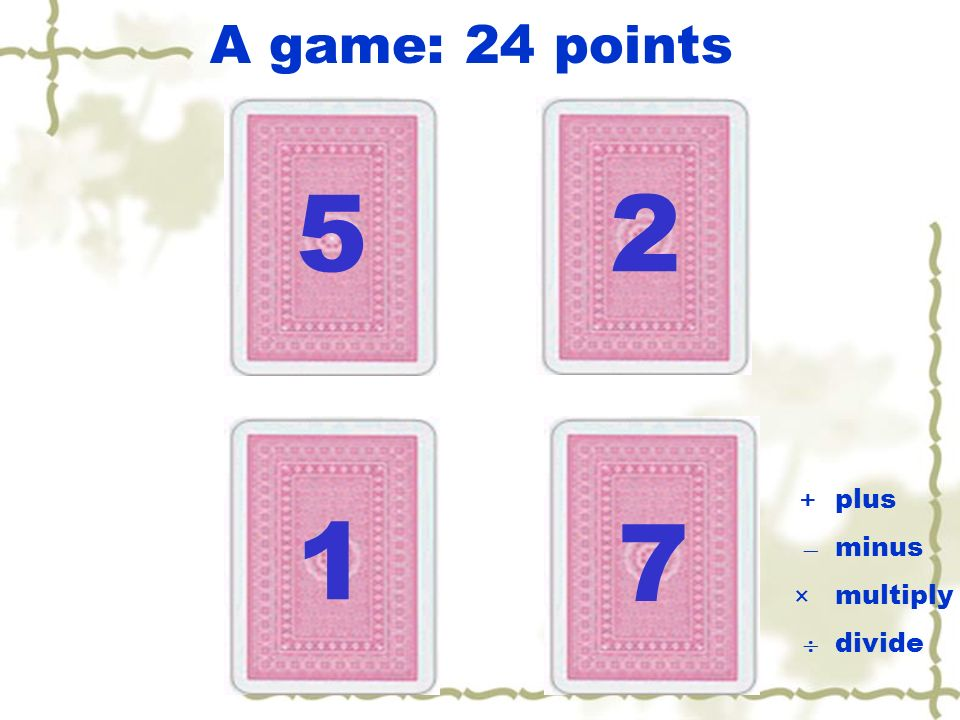 A game: 24 points 5 2 +  ×  plus minus multiply divide 1 7