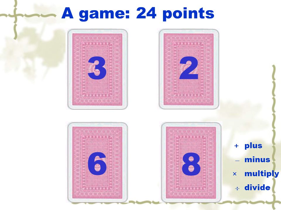 A game: 24 points 3 2 +  ×  plus minus multiply divide 6 8