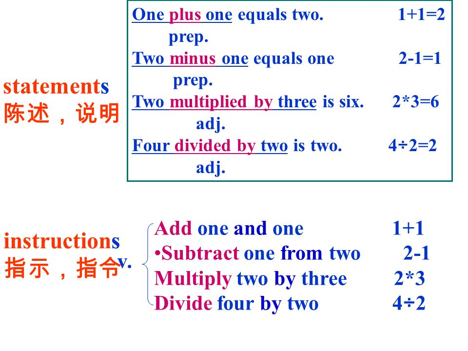 statements 陈述,说明 instructions 指示,指令 Add one and one 1+1