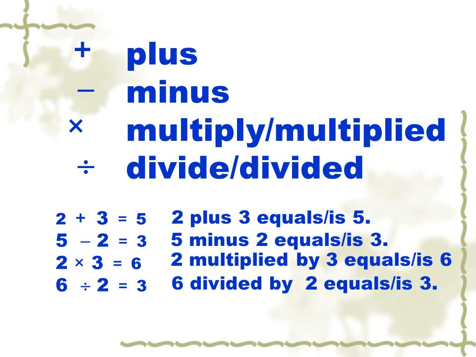 + plus  minus × multiply/multiplied  divide/divided