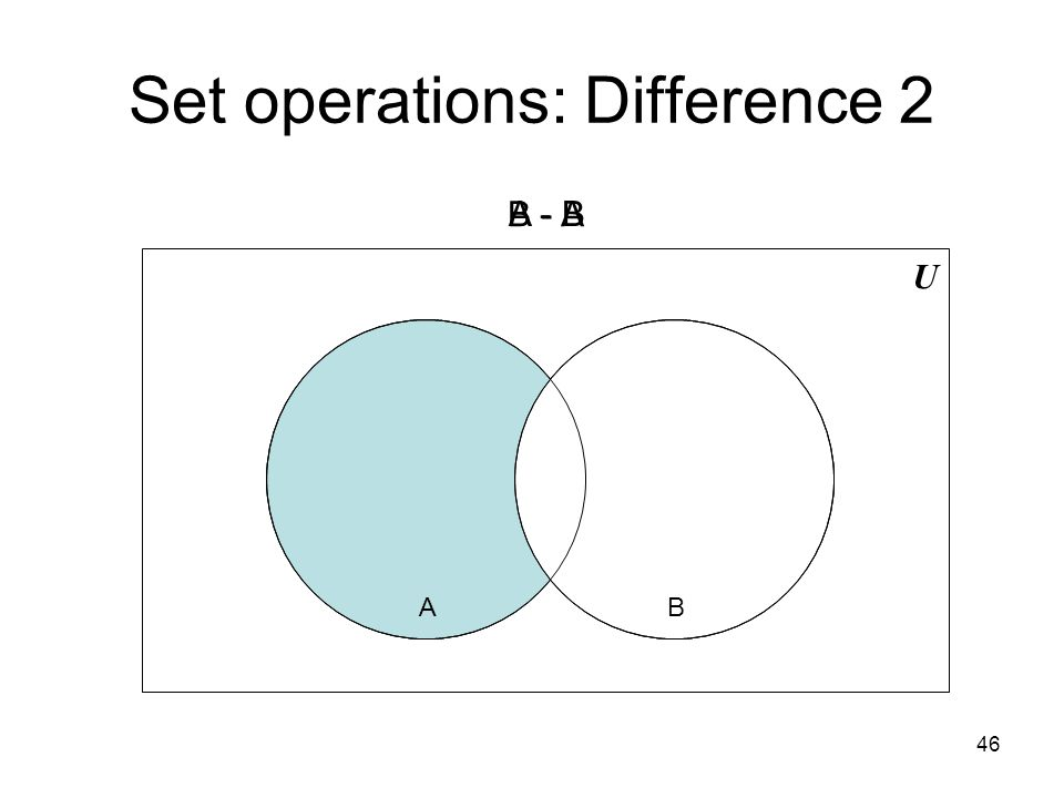 Set operations: Difference 2