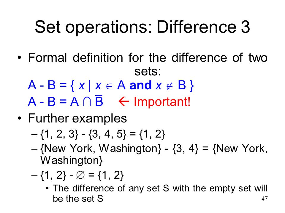 Set operations: Difference 3