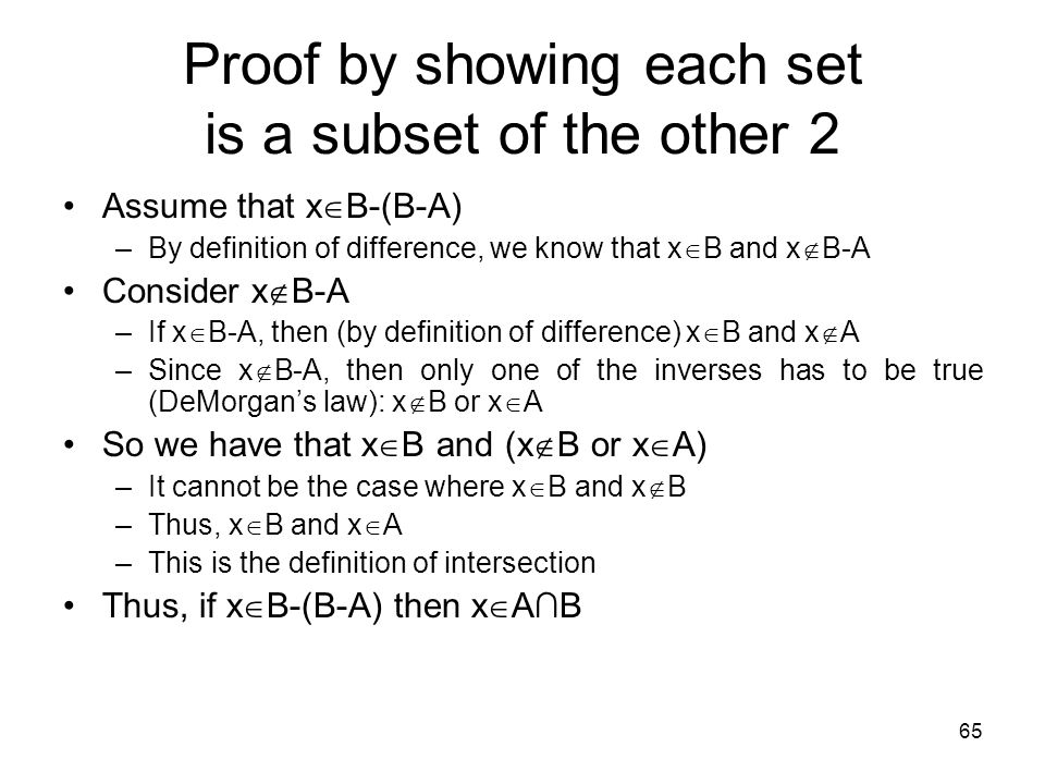 Proof by showing each set is a subset of the other 2