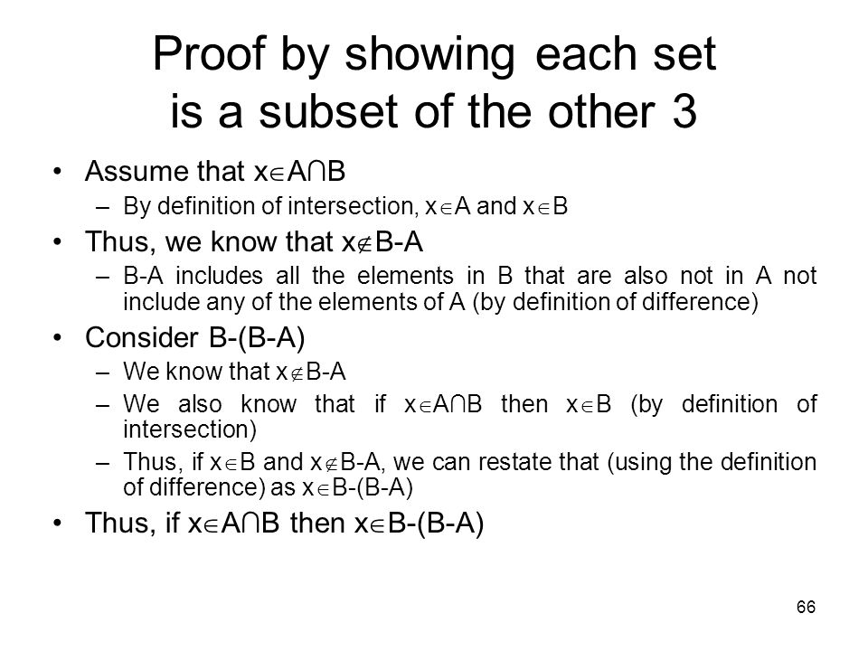 Proof by showing each set is a subset of the other 3