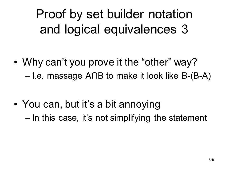 Proof by set builder notation and logical equivalences 3
