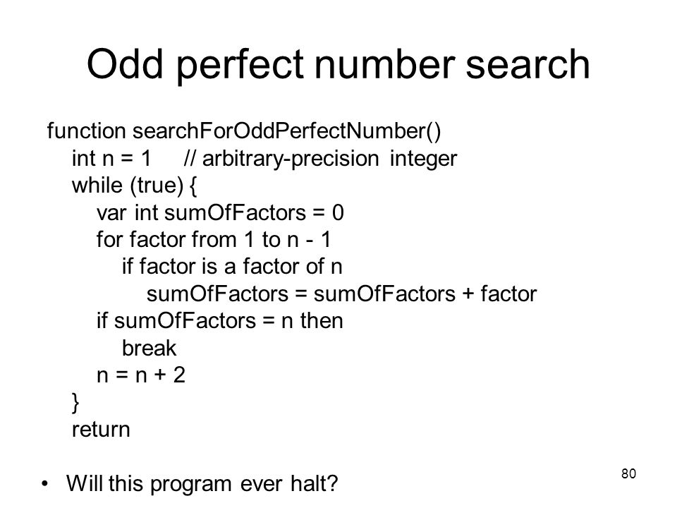 Odd perfect number search