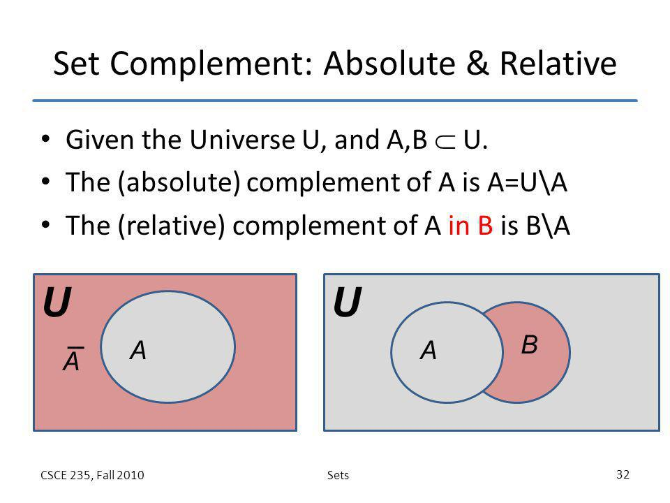 Set Complement: Absolute & Relative