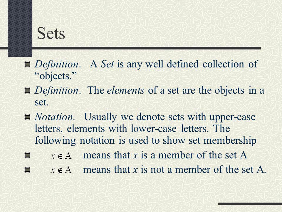 Sets Definition. A Set is any well defined collection of objects.