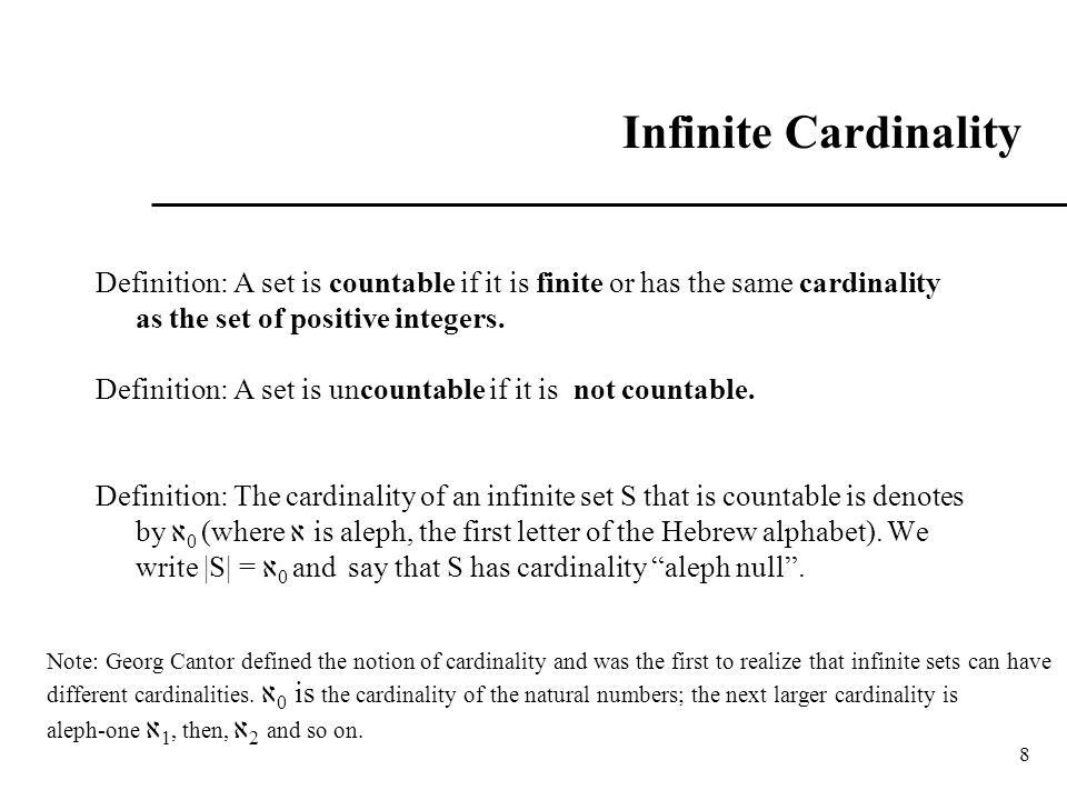 Infinite Cardinality Definition: A set is countable if it is finite or has the same cardinality as the set of positive integers.