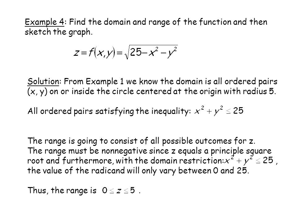 Example 4: Find the domain and range of the function and then sketch the graph.