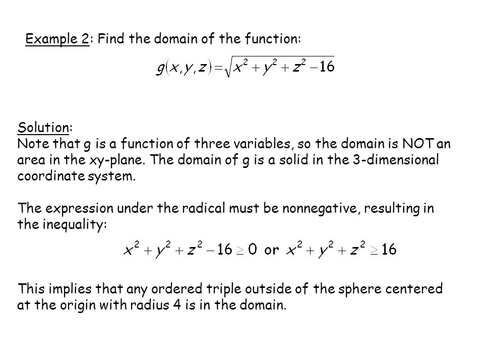 Example 2: Find the domain of the function: