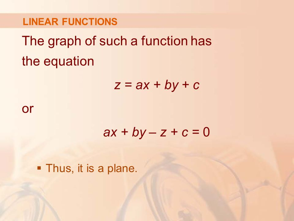 The graph of such a function has the equation