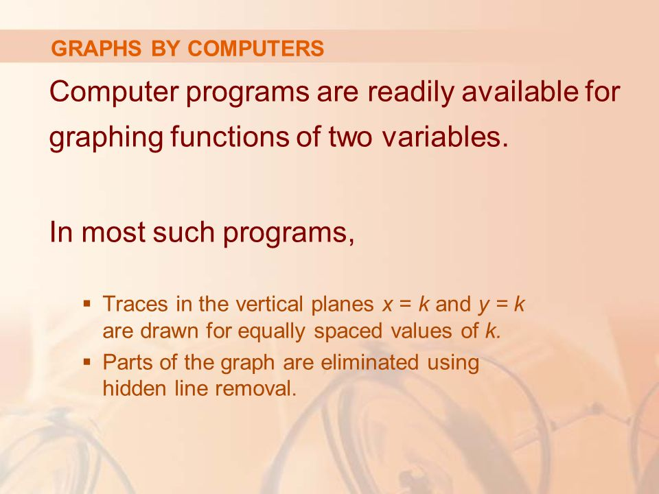 GRAPHS BY COMPUTERS Computer programs are readily available for graphing functions of two variables.