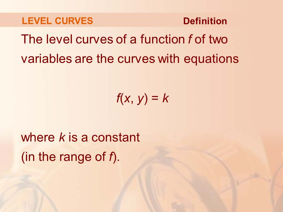 LEVEL CURVES Definition.