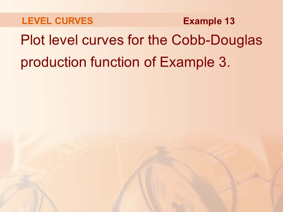 LEVEL CURVES Example 13 Plot level curves for the Cobb-Douglas production function of Example 3.