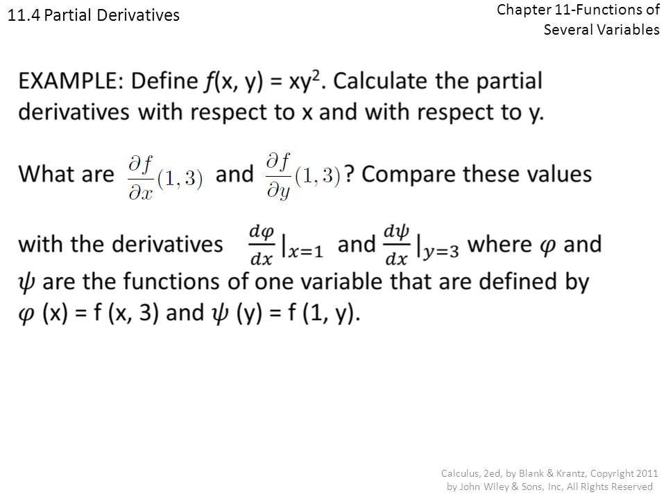 Chapter 11-Functions of Several Variables
