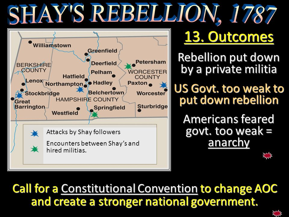 13. Outcomes SHAY S REBELLION, 1787