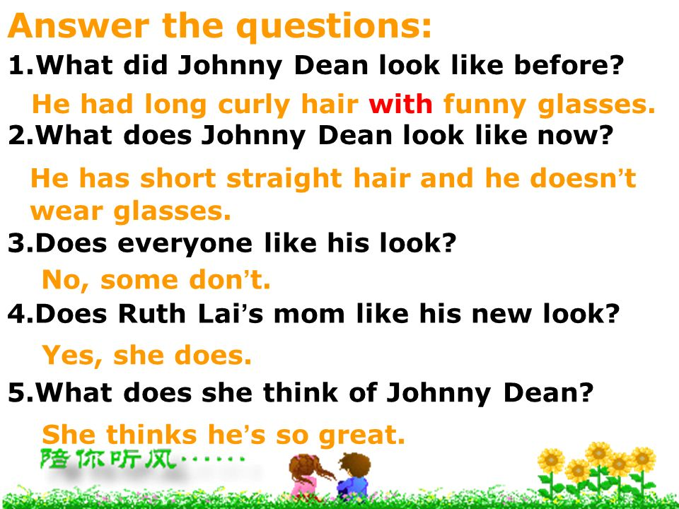 Answer the questions: What did Johnny Dean look like before