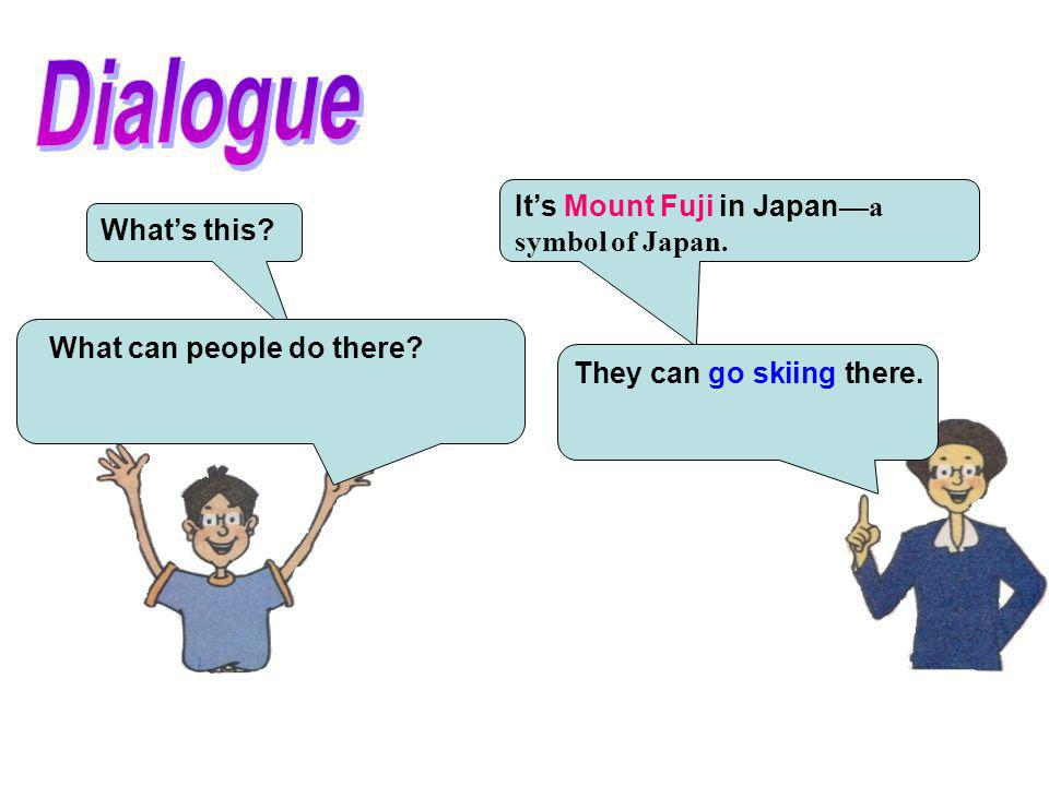 Dialogue It's Mount Fuji in Japan—a symbol of Japan. What's this