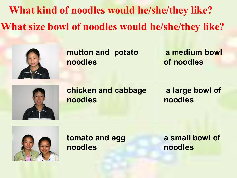 What kind of noodles would he/she/they like