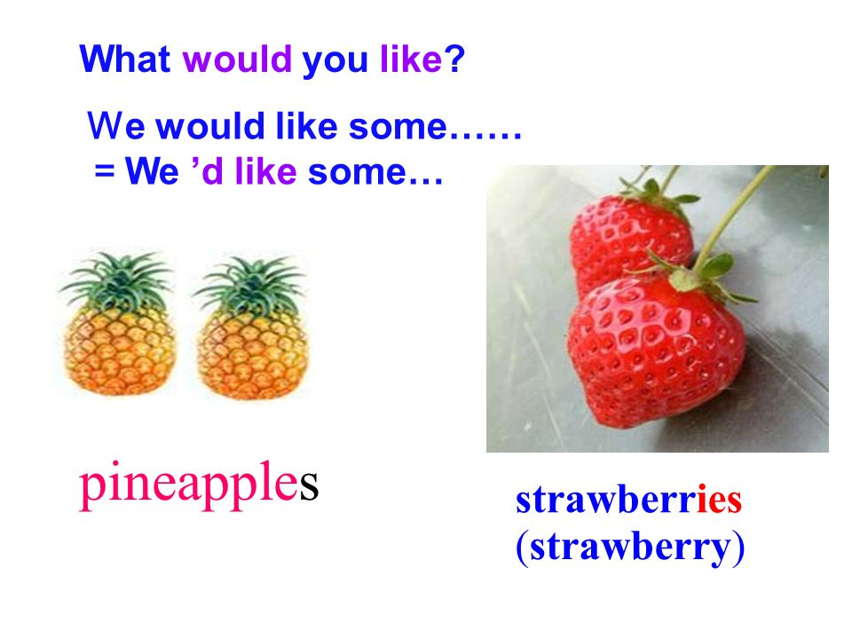 pineapples strawberries (strawberry) What would you like