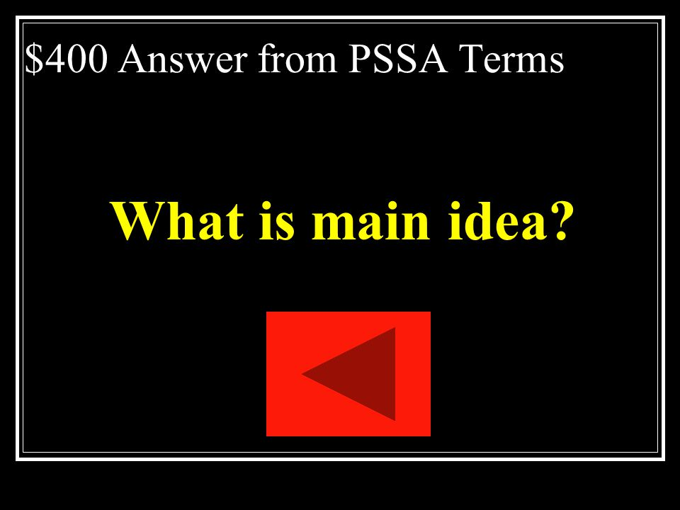 $400 Answer from PSSA Terms