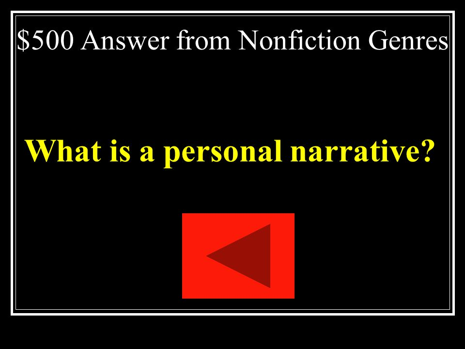 $500 Answer from Nonfiction Genres