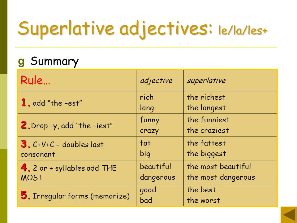 comparing the good and the les Comparative and superlative adverbs: their names spell out the difference between them comparatives compare two or more things, while superlatives express extremes introduction to french comparatives comparatives express relative superiority or inferiority, that is, that something is more or less than something else.