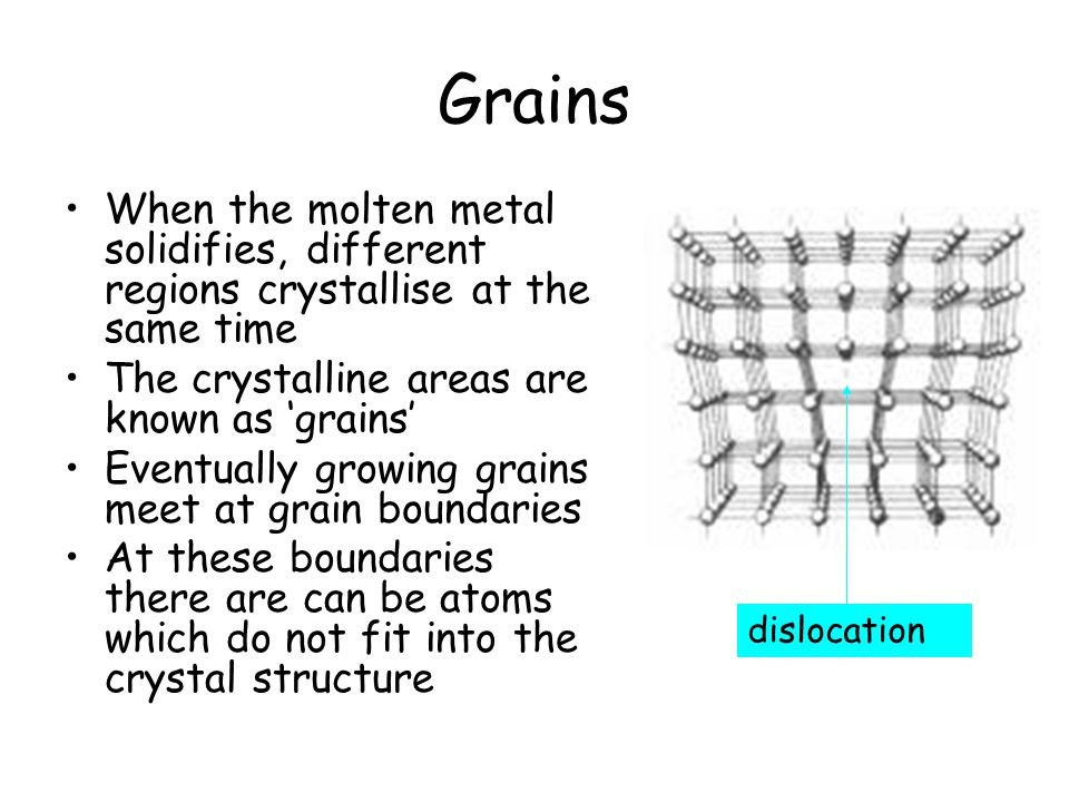 Grains When the molten metal solidifies, different regions crystallise at the same time. The crystalline areas are known as 'grains'