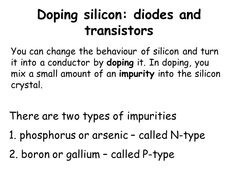 Doping silicon: diodes and transistors